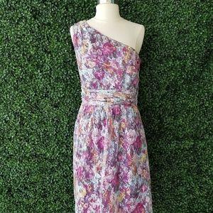 Elie Tahari Purple Floral Sheer Floral Lace Lattic